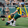 Fitchburg State University's Christopher Ludwig kicks the ball into play during the game against Castleton on Saturday afternoon. SENTINEL & ENTERPRISE / Ashley Green