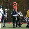 Fitchburg State University football played Westfield State University Saturday, Oct. 26, 2019 at Elliot Field. Refs signal that FSU got the first down after going for it on fourth down. SENTINEL & ENTERPRISE/JOHN LOVE