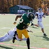 Fitchburg State University football played Westfield State University Saturday, Oct. 26, 2019 at Elliot Field. FSU's #82 Joshua Nelson is hit by WSU's #2 Jack Buckley but not before making a nice catch and going down with the ball in the end zone for the first score of the game. SENTINEL & ENTERPRISE/JOHN LOVE