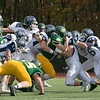 Fitchburg State University football played Westfield State University Saturday, Oct. 26, 2019 at Elliot Field. FSU's #30Steven Lawton is stop by quite a few WSU players sfter getting a few yards. SENTINEL & ENTERPRISE/JOHN LOVE