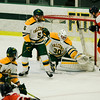Fitchburg State goalie Charles Jakobsson lets in a goal during the game against Salem State on Thursday evening. SENTINEL & ENTERPRISE / Ashley Green