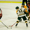 Fitchburg State's Brandon Ecklund possesses the puck before scoring his first collegiate goal during the game against Salem State on Thursday evening. SENTINEL & ENTERPRISE / Ashley Green