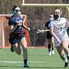 Fitchburg State University ladies lacrosse played Salem State University on Saturday, March 27, 2021 at Elliot Field.  SSU's #7 Madison White follows FSU's #3 Nicole Kopacz as she takes off down field. SENTINEL & ENTERPRISE/JOHN LOVE