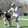 Fitchburg State University ladies lacrosse played Salem State University on Saturday, March 27, 2021 at Elliot Field.  FSU's #22 Brooke Johnson and SSU's #5 Taylor Sujko fight for control of the ball. SENTINEL & ENTERPRISE/JOHN LOVE
