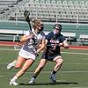 Fitchburg State University ladies lacrosse played Salem State University on Saturday, March 27, 2021 at Elliot Field. SSU's #19 Kayla McKim tries to stop FSU's #14 Julia Miele. SENTINEL & ENTERPRISE/JOHN LOVE