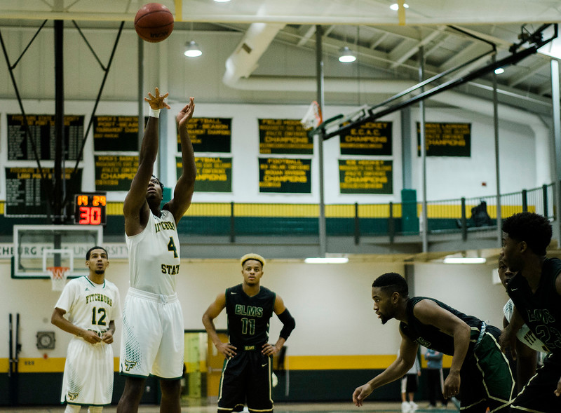 Fitchburg State's Chima Ebele in against against Elms College on Tuesday evening. SENTINEL & ENTERPRISE / Ashley Green