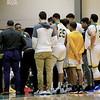 Fitchburg State University men's basketball played Salem State University on Tuesdsay night, January 9, 2019 at FSU's Recreation Center. FSU during a timeout. SENTINEL & ENTERPRISE/JOHN LOVE