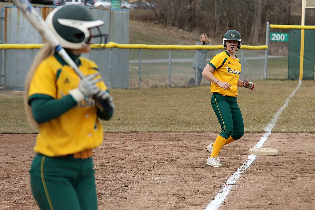 . Fitchburg State University softball played Massachusetts Maritime in a double header on Friday afternoon in Fitchburg. Leading off third base is FSU player Cammi Sperling during action in the second game of the double header. SENTINEL & ENTERPRISE/JOHN LOVE