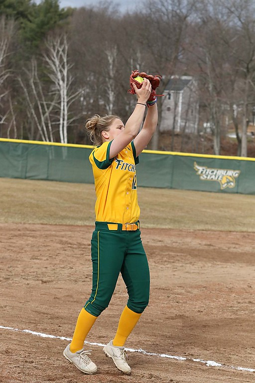 . Fitchburg State University softball played Massachusetts Maritime in a double header on Friday afternoon in Fitchburg. FSU third baseman Cammi Sperling make a catch just foul of third base during the second game of the double header. SENTINEL & ENTERPRISE/JOHN LOVE