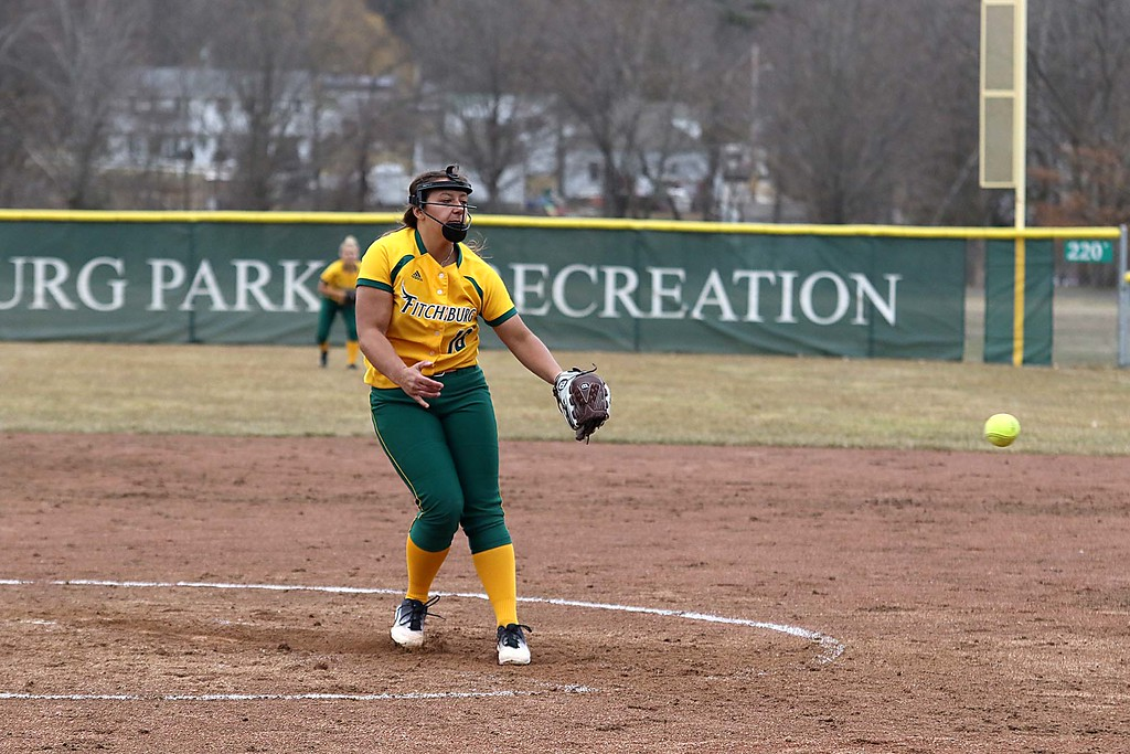 . Fitchburg State University softball played Massachusetts Maritime in a double header on Friday afternoon in Fitchburg. In the first game FSU Pitcher Taylor Colvin winds up to deliver a pitch during the game. SENTINEL & ENTERPRISE/JOHN LOVE