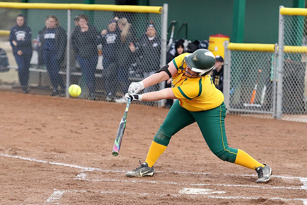 . Fitchburg State University softball played Massachusetts Maritime in a double header on Friday afternoon in Fitchburg. FSU player Makayla Harnois swings at a pitch during action in the second game of the double header. SENTINEL & ENTERPRISE/JOHN LOVE