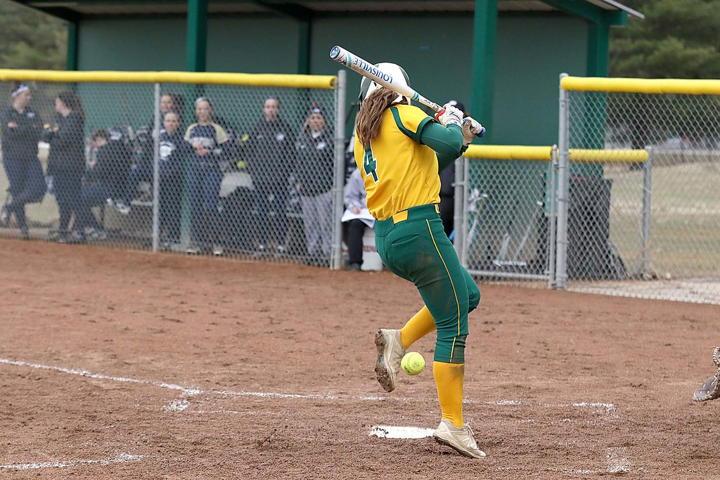 . Fitchburg State University softball played Massachusetts Maritime in a double header on Friday afternoon in Fitchburg. FSU player McKenzie Lambert gets hit by a pitch during action in game one of the double header. SENTINEL & ENTERPRISE/JOHN LOVE