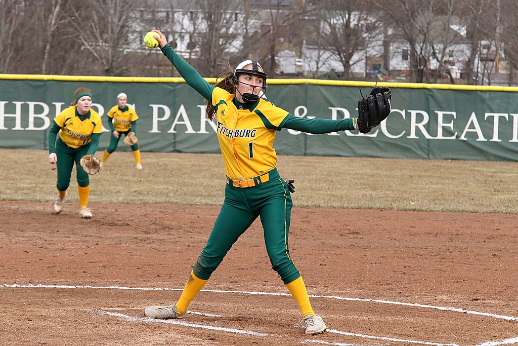 . Fitchburg State University softball played Massachusetts Maritime in a double header on Friday afternoon in Fitchburg. FSU pitcher Emma Campbell winds deliver a pitch during the second game of the double header. SENTINEL & ENTERPRISE/JOHN LOVE