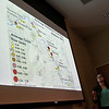 Eighteen Fitchurg State University students who have been working with faculty on paid research programs involving the health of the Fitchburg Community presented their work Thursday, July 27, 2017 at the Mazzaferro Center in Presidents' Hall at the University. Tallie Foster, 20, of Somerset talks about the average sediment grain size during her presentation with Kaitlin Berube, 20, of North Andover. SENTINEL & ENTRPRISE/JOHN LOVE