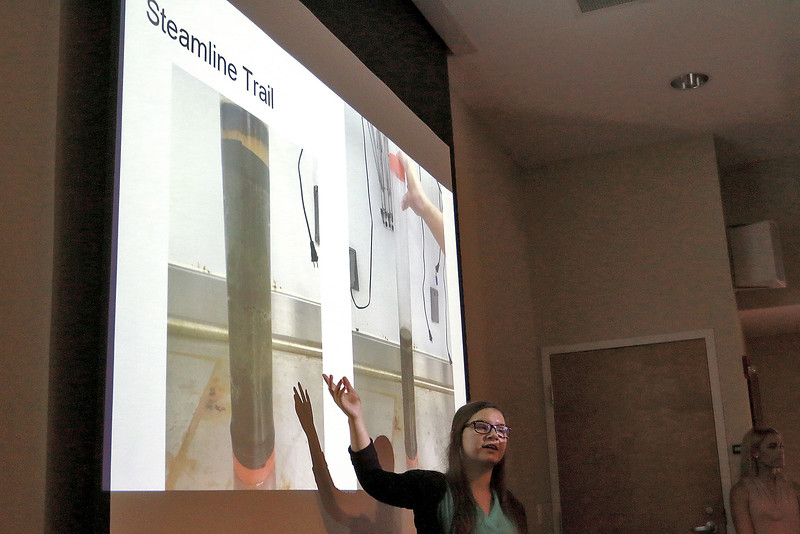 Eighteen Fitchurg State University students who have been working with faculty on paid research programs involving the health of the Fitchburg Community presented their work Thursday, July 27, 2017 at the Mazzaferro Center in Presidents' Hall at the University. Tallie Foster, 20, of Somerset points to a slide that show how they got sediment samples from the river during their presentation. SENTINEL & ENTRPRISE/JOHN LOVE