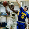 Fitchburg State's Mustapha Koroma in action during the game against Worcester State on Thursday, February 23, 2017. WSU would come out on top 71-68, moving on to the MASCAS finals on Saturday. SENTINEL & ENTERPRISE / Ashley Green