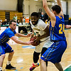 Fitchburg State's Jalen Williams breaks through the defense during the game against Worcester State on Thursday, February 23, 2017. WSU would come out on top 71-68, moving on to the MASCAS finals on Saturday. SENTINEL & ENTERPRISE / Ashley Green