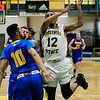 Fitchburg State's Leonny Burgos in action during the game against Worcester State on Thursday, February 23, 2017. WSU would come out on top 71-68, moving on to the MASCAS finals on Saturday. SENTINEL & ENTERPRISE / Ashley Green