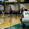 Fitchburg State's Jordan Almore watches the final seconds of the game against Worcester State on Thursday, February 23, 2017. WSU would come out on top 71-68, moving on to the MASCAS finals on Saturday. SENTINEL & ENTERPRISE / Ashley Green