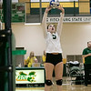 Fitchburg State University played Bay Path College on Saturday, August 31, 2019. FSU's Amy Coelho sets the ball. SENTINEL & ENTERPRISE/JOHN LOVE
