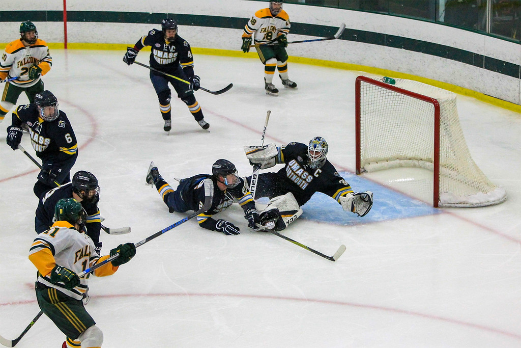 . Sascha Figi gets a shot on net FSU vs UMass Dartmouth SENTINEL&ENTERPRISE/Scott LaPrade