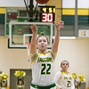 Fitchburg State University womens basketball played Worcester Polytechnic Institute on Thursday night, Nov. 21, 2019 in Fitchburg. FSU's #22 Catherine Coppinger shots a free throw. SENTINEL & ENTERPRISE/JOHN LOVE