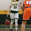 Fitchburg State University women's basketball played Salem State University on Saturday, Jan. 11, 2020 at the FSU's Recreation Center. FSU's #34 Mishelle Logie calls out a play as she brings the ball down court. SENTINEL & ENTERPRISE/JOHN LOVE