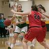 Bridgewater State University girls basketball visited Fitchburg on Wednesday, Jan. 22, 2020 to play Fitchburg State University. FSU's #0 Angelina Marazzi looks to get around BSU's #24 Hannah Dziadyk. SENTINEL & ENTERPRISE/JOHN LOVE