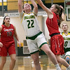 Bridgewater State University girls basketball visited Fitchburg on Wednesday, Jan. 22, 2020 to play Fitchburg State University. BSU's #5 Kylee Piche tries to stop a shot by FSU's #22 Catherine Coppinger. SENTINEL & ENTERPRISE/JOHN LOVE