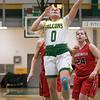 Bridgewater State University girls basketball visited Fitchburg on Wednesday, Jan. 22, 2020 to play Fitchburg State University. FSU's #0 Angelina Marazzi takes it to the basket between BSU's #5 Kylee Piche and #24 Hannah Dziadyk. SENTINEL & ENTERPRISE/JOHN LOVE
