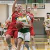 Bridgewater State University girls basketball visited Fitchburg on Wednesday, Jan. 22, 2020 to play Fitchburg State University. FSU's #0 Angelina Marazzi drives to the basket just ahead of BSU's #4 Nina Morrison. SENTINEL & ENTERPRISE/JOHN LOVE