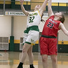 Bridgewater State University girls basketball visited Fitchburg on Wednesday, Jan. 22, 2020 to play Fitchburg State University. FSU's #32 Lindsay McDonald and BSU's #23 Olivia Dziadyk go after a rebound. SENTINEL & ENTERPRISE/JOHN LOVE