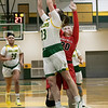 Bridgewater State University girls basketball visited Fitchburg on Wednesday, Jan. 22, 2020 to play Fitchburg State University. FSU's #23Emma Thomson gets a shot off by BSU's #20 Sydney Bradbury. SENTINEL & ENTERPRISE/JOHN LOVE