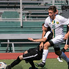 Fitchburg State University men soccer played Framingham State University on Saturday, September 21, 2019 at Elliot Field on campus. FSU's #26 Jeremiah Maki  tries fights for the ball with a Framiingham player. SENTINEL & ENTERPRISE/JOHN LOVE