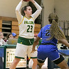 Fitchburg State University womens basketball played Albertus Magnus College on Saturday, Nov. 23, 2019 at the university's Recreation Center. Looking for a teammate to pass to is FSU's #23 Emma Thompson. SENTINEL & ENTERPRISE/JOHN LOVE