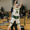 Fitchburg State University womens basketball played Albertus Magnus College on Saturday, Nov. 23, 2019 at the university's Recreation Center. Tryiing to stay inbounds as she gets a pass is FSU's #34 Mishelle Logie. SENTINEL & ENTERPRISE/JOHN LOVE