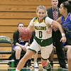 Fitchburg State University womens basketball played Albertus Magnus College on Saturday, Nov. 23, 2019 at the university's Recreation Center. FSU's #0 Angelina Marazzi drives to the basket while covered by AMC's #21 Beatriz Honorio. SENTINEL & ENTERPRISE/JOHN LOVE