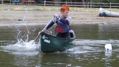 April 23, 2004: WW04 Friday events at Storrs Pond.  Dartmouth men's team in the singles canoeing event.