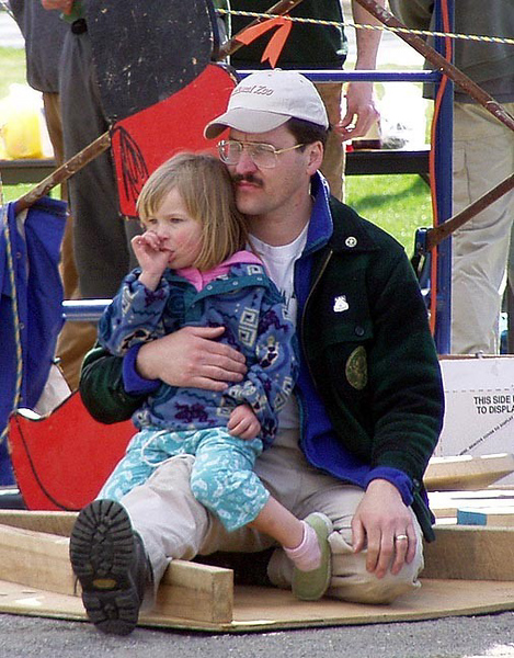 April 24, 2004: WW04 Saturday events on the Green.  Mara and David Kotz watch the chopping. (Photo by David Metsky)