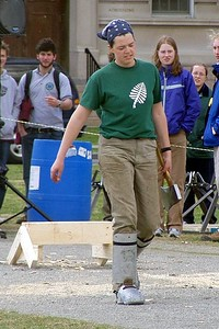 April 24, 2004: WW04 Saturday events on the Green. Dartmouth women's team ready to chop.  (Photo by David Metsky)