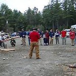 April 23, 2004: WW04 Friday events at Oak Hill.  (Movie)   Dartmouth men's alum pulp toss.  David Kotz in white at left.  Ase Thomas in red, judging.