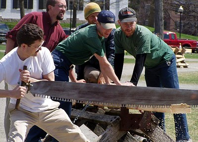 April 24, 2004: WW04 Saturday events on the Green.  Dartmouth men's alums, David Kotz at left.  (Photo by David Metsky)