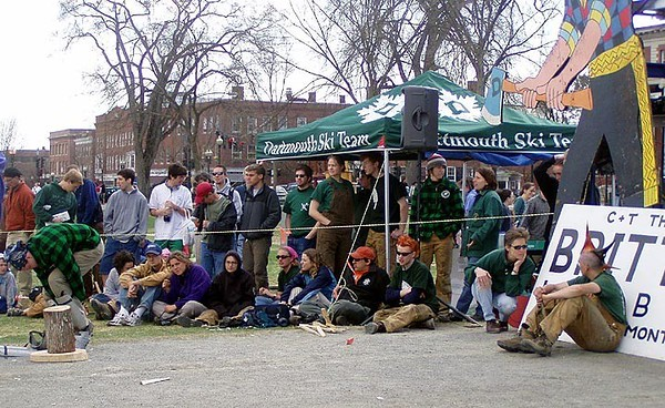 April 24, 2004: WW04 Saturday events on the Green.  The Dartmouth teams prepare to cheer on firebuilders.  (Photo by David Metsky)