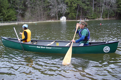 April 23, 2004: WW04 Friday events at Storrs Pond. Dartmouth women's team finishes up doubles canoeing.