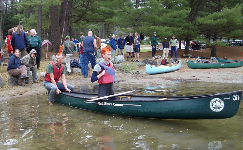 April 23, 2004: WW04 Friday events at Storrs Pond.  Dartmouth men's team prepares for singles canoeing.