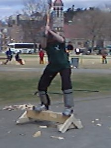 April 24, 2004: WW04 Saturday events on the Green.  Elaine Anderson '83 finishing her h-chop.