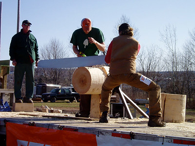NSAC meet 2006, by Vicki Allen 06, photo of Ali Crocker '06 as the STIHL Timbersports competitor from Dartmouth