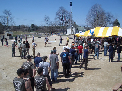 "WW2008 at UNH. Teams line up for lunch.  ""Logger relay"" even at back left."