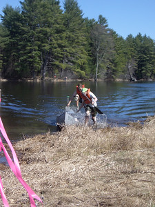 WW2008 at UNH. Dartmouth men's team (Phil and Chris) pulling out at the end of portage.