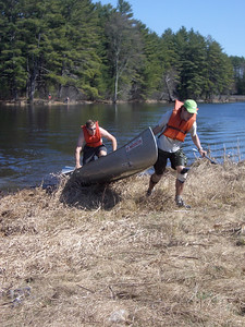 WW2008 at UNH. Dartmouth men's team (Phil and Chris) at the end of portage.